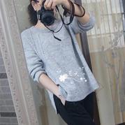 浅秋 女士棒针休闲套头毛衣