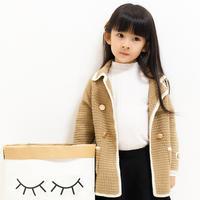 儿童钩针双排扣翻领开衫大衣编织视频(2-1)