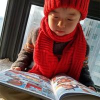 男女宝宝都适合戴的棒针围巾帽子套装——小红孩儿