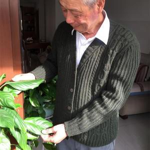 中老年男士棒针绞花V领开衫毛衣