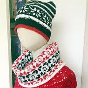 毛线球款云舒棒针挪威经典提花围脖帽子套装