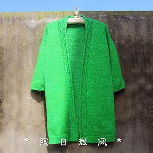 捻青枝 翠绿色女士棒针休闲无扣毛衣