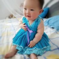 蓝色性感精灵 婴幼儿钩针吊带背心裙