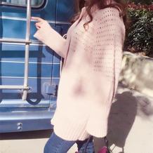 粉色中长款马海毛女士棒针开衫