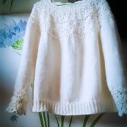 清新文艺范钩织结合葱衣——葱白