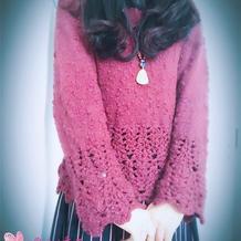 仿TY的杏花雨 钩织结合长袖套头衫
