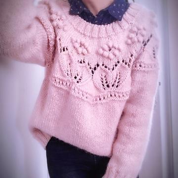 可爱软萌粉宽松版桑果套头毛衣