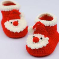 圣诞老人钩针宝宝鞋编织视频教程