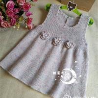 仙仙的麻绒马海毛立体小花朵儿童公主裙