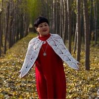 秋冬純凈兔毛線斗篷式鉤針披肩