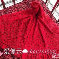 喜庆中国红一线连山羊绒围巾披肩