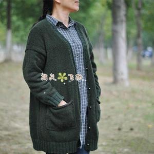羊毛圈圈简洁宽松时尚女士棒针开衫外套