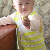 前后片连钩1岁宝宝钩针条纹小背心