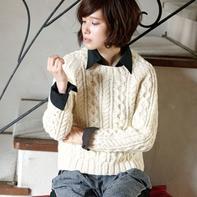 新款秋冬女士棒针插肩袖绞花毛衣图解