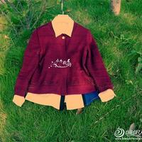 名媛淑女风春秋薄款酒红色开衫外套