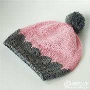 冬季保暖必备双色拼贝壳花儿童帽