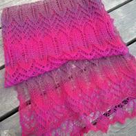 蝉翼 轻薄透长段染女士棒针蕾丝围巾