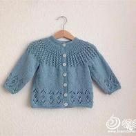 儿童款云棉编织复古风格的圆肩开衫