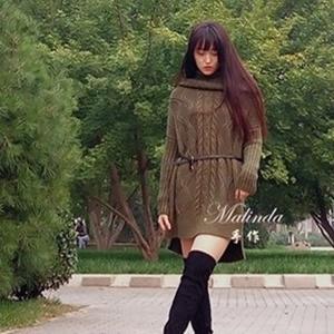 简约大气前短后长款盆领毛线裙
