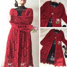 酒红 米果女士钩针长款开衫