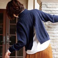 浪漫主义风格女士棒针背开叉高领毛衣