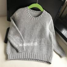 经典双层渔网针儿童棒针圆领毛衣
