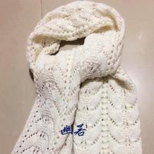 白色云舒女士棒针镂空花围巾