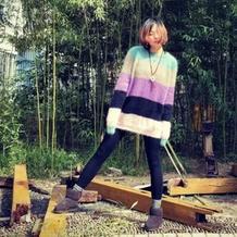 寻找 女士棒针拼色彩条马海毛衣