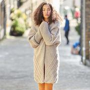 仿Rowan2017秋冬粗针织女士棒针大衣