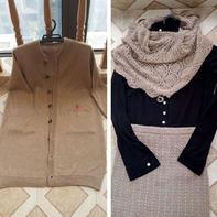 女士冬日套装编织服饰(棒针开衫大衣、铜钱花半节裙和钩针菠萝披肩)