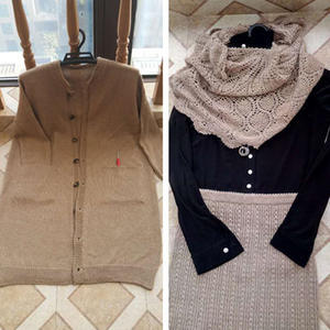 女士冬日套装U乐娱乐youle88服饰(棒针开衫大衣、铜钱花半节裙和钩针菠萝披肩)
