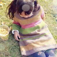 幸福树 儿童棒针渐变色长袖毛衣裙