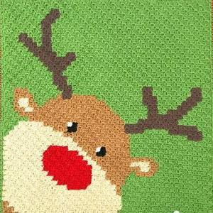 圣诞风格对角线编织钩针麋鹿毛毯