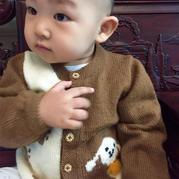 婴幼儿可爱小狗狗图案棒针开衫毛衣