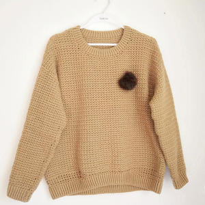焦糖 卫衣款女士钩针长袖圆领毛衣