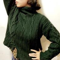 云绒叁柒女士棒针宽松休闲套头毛衣