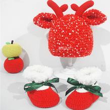 圣诞主题编织系列(2-1)儿童钩针卡通驯鹿帽子