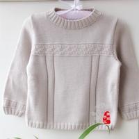 男女宝宝都适合的儿童棒针圆领套头羊毛衫