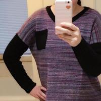 女士棒针拼接袖短款套头毛衣