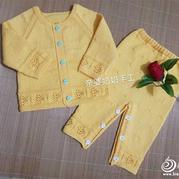 中性款新生儿棒针套装(宝宝插肩开衫及系扣可开裆裤子)