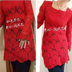 红色果实 女士春秋钩针方领长袖菠萝裙衣