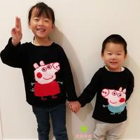 姐弟装 儿童棒针小猪佩奇主题卡通毛衣