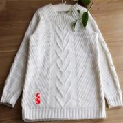 皎月 多线合股女士棒针羊绒羊毛套头毛衣