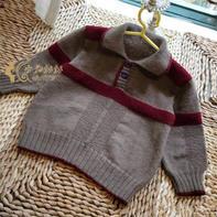 儿童POLO衫式棒针开领系扣套头毛衣