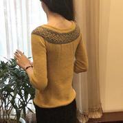 毛线球改版从上往下织金羊女士棒针提花毛衣