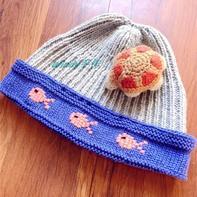 可爱小鱼图案棒针宝宝帽子