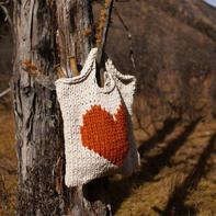 ZIGAZIG SHOPPER 粗针织羊毛刺绣棒针手提包