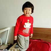 云棉中国红儿童棒针圣诞小熊提花毛衣