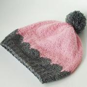 儿童棒针拼色贝壳花帽子