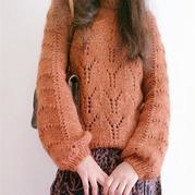 秋枫 大牌北欧风女士棒针灯笼袖宽松套头毛衣